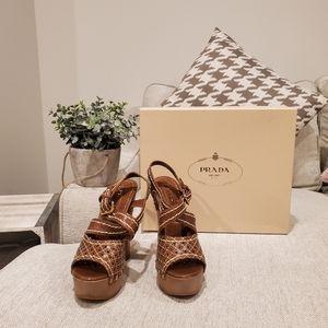 Brand new Prada wooden heels 35.5 5.5 6
